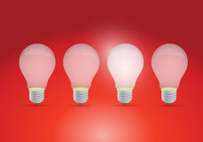 Idea concept with row of light bulbs Stock Photography