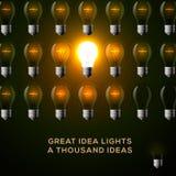 Idea concept, row of light bulbs. Royalty Free Stock Photography