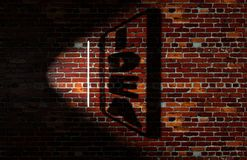 Idea concept, shadow art. On brick wall Royalty Free Stock Photo