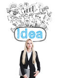 Idea concept sketches above head Royalty Free Stock Images