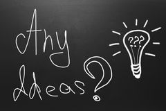 Idea concept with text: Any Ideas drawn on blackboard stock images