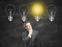 Idea concept with thoughtful businessman Stock Photo