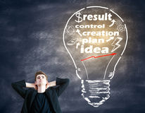 Idea concept. Thoughtful young businessperson with light bulb on blackboard background. Idea concept Royalty Free Stock Image