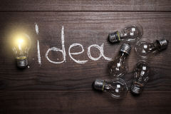 Idea concept on wooden background Stock Photography