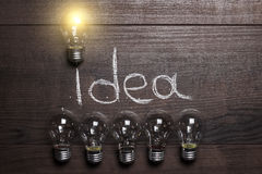 Idea concept on wooden background Royalty Free Stock Images