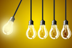 Idea concept on yellow background Royalty Free Stock Photos