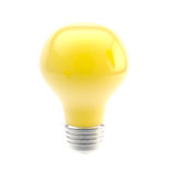 Idea conception: bright yellow bulb isolated Royalty Free Stock Images