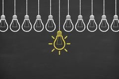 Idea concepts with light bulbs Royalty Free Stock Photo