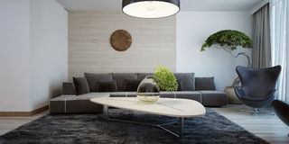 Idea of contemporary living room Stock Photography