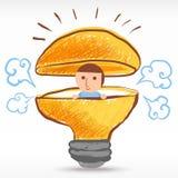 Idea creativa de la bombilla Foto de archivo libre de regalías