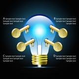 Idea creativa de la bombilla cr infographic y de Infographic del negocio Fotografía de archivo libre de regalías
