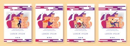 Idea creativa de la promoción, bicicleta, educación en línea stock de ilustración