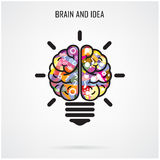 Idea creativa del cerebro y concepto de la bombilla, concepto de la educación Foto de archivo libre de regalías