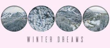 Idea creativa del concepto aéreo f del texto del logotipo de la montaña del invierno imagenes de archivo