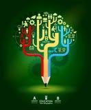 Idea creativa dell'albero di crescita di concetto della matita, illustrazione di vettore Fotografia Stock Libera da Diritti