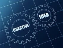 Idea creativa en engranajes azules Fotografía de archivo libre de regalías