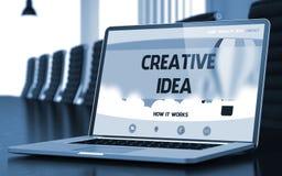 Idea creativa - sullo schermo del computer portatile closeup 3d Fotografia Stock