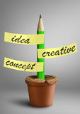 Idea creative concept, pencil with stickers as plant in pot Stock Photo
