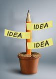 Idea creative concept, pencil with stickers in pot Royalty Free Stock Image