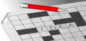 Idea crosswords. Crosswords printed on a sheet of paper with a word idea written on it Stock Photo
