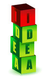 Idea cubes. Illustration isolated over a white background Royalty Free Stock Images
