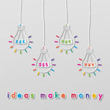 Idea currency bulbs Royalty Free Stock Image