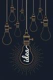 Idea d'annata della lampadina con lo scoppio del raggio Illustrazione Vettoriale