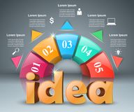 Idea 3d business infographics. Idea 3d idea on the grey background Stock Photography