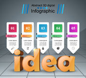 Idea 3d business infographics. Idea 3d logo on the grey background Stock Images