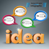 Idea 3d business infographics. Idea 3d logo on the grey background Royalty Free Stock Photography