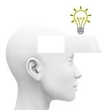The idea. 3d generated picture of a light bulb inside a head drawer stock illustration