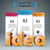 Idea 3d business infographics. Idea 3d idea on the grey background Royalty Free Stock Images