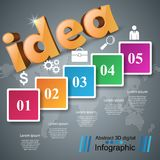 Idea 3d business infographics. Idea 3d logo on the grey background Stock Photos