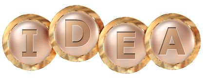 Idea tag banner. Idea 3d rendered golden tag banner , isolated on white background Stock Photo