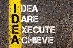 Idea Dare Execute Achieve - IDEA  Concept Royalty Free Stock Photos