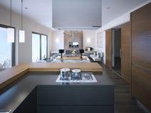 Idea de apartamentos-estudios en colores marrones y blancos Imagen de archivo