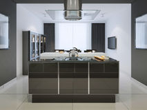 Idea de la barra de la isla en la cocina del techno Fotografía de archivo libre de regalías