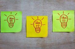 Idea de la bombilla del concepto de la inspiración en el cuaderno de notas pegajoso colorido imagenes de archivo