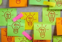 Idea de la bombilla del concepto de la inspiración en el cuaderno de notas pegajoso colorido Imagen de archivo