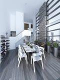 Idea de la cena espaciosa del alto-techo imágenes de archivo libres de regalías