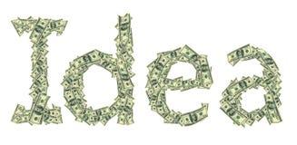 Idea de la leyenda hecha de dólares como símbolo del comienzo acertado Foto de archivo libre de regalías