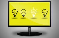 Idea de la luz de bulbo en la TV Imagen de archivo