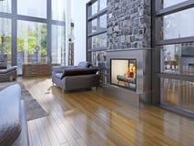 Idea de la sala de estar vanguardista con la chimenea Foto de archivo