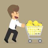Idea de los bulbos de las compras del hombre de negocios Imágenes de archivo libres de regalías