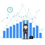 Idea de pensamiento del hombre de negocios en la desesperación en concepto de la crisis stock de ilustración
