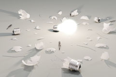 Idea or decision concept with glowing lightbulb and broken light Royalty Free Stock Images