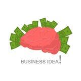 Idea del asunto Cerebro humano y dinero Efectivo y cuerpo humano cerebro Fotografía de archivo libre de regalías