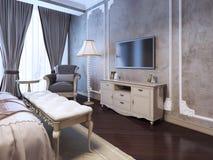 Idea del dormitorio del lujo de la decoración Imagen de archivo