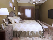 Idea del estilo moderno del inglés del dormitorio Fotografía de archivo libre de regalías
