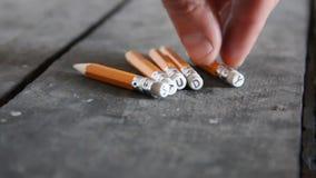 Idea del estudio, inscripción en los lápices almacen de metraje de vídeo